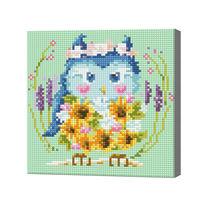 Голубая сова с букетом подсолнухов, 20x20 см, алмазная мозаика