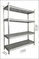 Стеллаж оцинкованный металлический Moduline 1195Wx305Dx1530H mm, 4 полки/МРВ