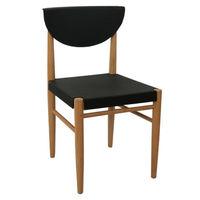 Пластиковый стул, деревянные ножки 500x450x800 мм, черный