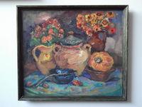 Цветы и керамика, 64x74 см, холст, масло