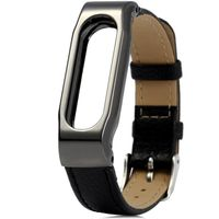 Xiaomi Mi Band Leather Strap for MiBand 1/1S, Black, Metal holder