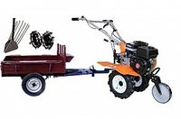 Set motocultivator TECHNOWORKER HB 700N+Remorca RK500 + plug cartofi + roti metalice 4*8