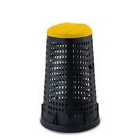 купить Мусорный контейнер Trespolo 100 л, черный с крышкой желтой в Кишинёве