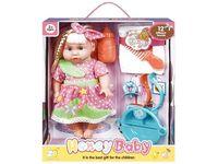 Кукла со звуком и аксессуарами (роз горошек), 32.5X28.5X11cm