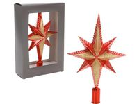 Верхушка елочная звезда 8-ми конечная 25cm красная