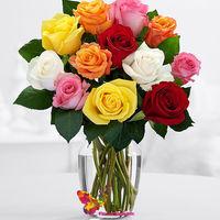 купить Летний букет из 19 разноцветных роз в вазе в Кишинёве