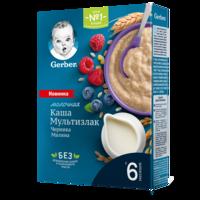 Каша мультизерновая с молоком черника-малина Gerber, с 6 месяцев, 180г