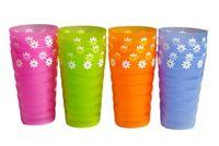 Набор стаканов 4шт, с цветами, пластик