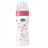 Chicco Biberon tetină silicon Well Being Girl, 250ml