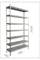 купить Стеллаж металлический с металлической плитой Gama Box 1195Wx480Dx2440H мм, 7 полок/MB в Кишинёве