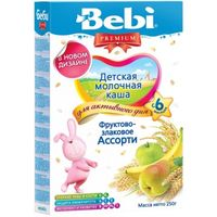 Bebi Premium каша фруктово-злаковое ассорти молочная, 6+мес. 250г