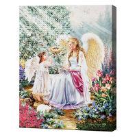 Ангелочек мама с дочкой, 40x50 см, набор для рисования цифр + алмазная мозаика, YHDGJ74219