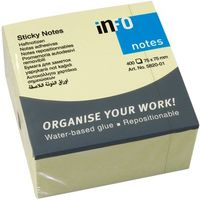 Info Notes Бумага клейкая INFO 75x75мм, 400 листов, куб желтая