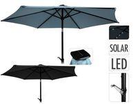 Зонт для террасы D270cm, солнечные фонари 24 LED на 6 спицах
