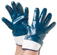 Перчатки трикотажные облитые синим нитрилом, жесткая каучуковая манжета Арт. 441