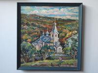 Монастырь Суручены, 63x60 см., холст, масло