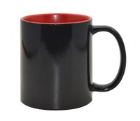 Кружка для сублимации хамелеон матовая чёрная, красная внутри  11oz