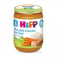 Hipp пюре рис, морковь и телятина, 4+мес. 190г