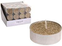 Свечи чайные c гллитером 3шт, 36g, золотой
