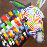 Oil Paintings Rainbow Zebra (ANI16001027)