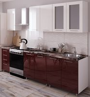 Кухонный гарнитур Bafimob Lena (High Gloss) 1.8m White/Bordo