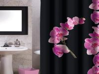 "Шторка для душа 180X200cm ""орхидея"" черн-розовая, полиэстер"