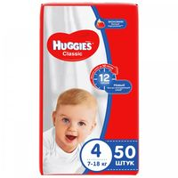 Huggies подгузники  Classic Jumbo 4, 7-18 кг,50 шт