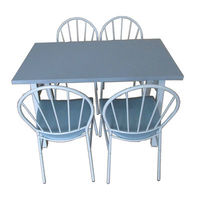 Set masă cu 4 scaune din metal și PVC, 1200x760x760 mm, gri