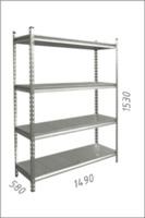 купить Стеллаж металлический с металлической плитой 1480x580x1530 мм, 4 полок/MB в Кишинёве