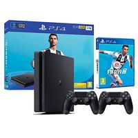 купить Game Console  Sony PlayStation 4 1TB Black + Fifa 19 + Dualshock 4, 2 x Gamepad (Dualshock 4), 1 x Game (Fifa 19) в Кишинёве