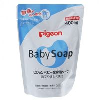 Мыло-пенка Pigeon для купания младенцев, с керамидами, без запаха, 400 мл, запаска