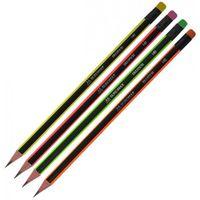 Buromax NEON НВ, Карандаш, графит, черно-неоновый, с ластикиком