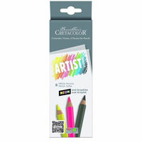 Set de creioane neon 5 cul + 1 grafit MEGA Cretacolor