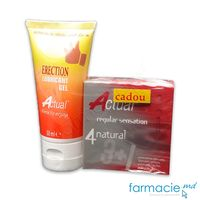 Lubrifiant Actual Erection 50 ml+ Prezervative Actual N4 Natural Cadou