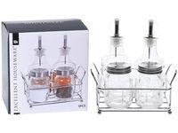 Set pentru mirodenii EH 4buc pe suport, sticla/metalic