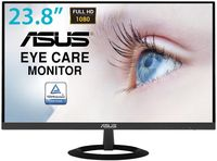 "23.8"" ASUS ""VZ249HE"", Black (AH-IPS, 1920x1080, 5ms, 250cd, LED80M:1, D-Sub + HDMI) (23.8"" AH-IPS+LED backlight, Full HD(16:9) 1920x1080, 0.2265mm, 5ms(G2G), DC80000000:1 (1000:1), 250cd/m2, 178°/178°, D-Sub, HDMI, Black - Stylish ultra-slim profile is only 7mm thin  - Frameless design suitable for multi-display use   - IPS technology with stunningly wide 178° viewing angles   - ASUS Eye Care monitors feature TÜV Rheinland-certified Flicker-free and Low Blue Light technologies to ensure a comfortable viewing experience )"