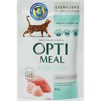 Optimeal для стерилизованных ,с индейкой и куриным филе в соусе ,85 г