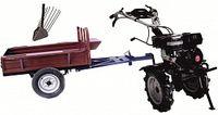 Set motocultivator TECHNOWORKER HB 700RS ECO+ Remorca RK500 + plug cartofi
