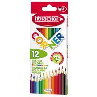 Карандаши цветные Fibracolor Corner 12 цветов треугольные