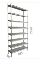 Стеллаж металлический с металлической плитой Gama Box 1195Wx380Dx2440 Hмм, 8 полок/MB