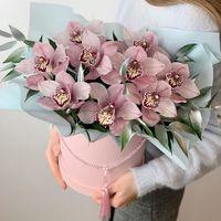 Фиолетовые орхидеи в коробке