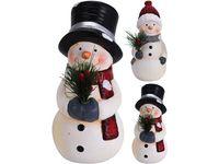 Сувенир Снеговик с букетом 17X7cm, керамика, 2 дизайна