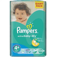 Pampers Scutece Giant Pack 4+, 9-16 kg, 70 buc.
