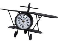 """Часы настольные """"Самолет"""" 37.5X20cm, металл, черные"""