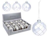 Glob pentru brad din sticla 80mm argintiu