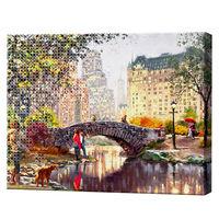 Мостик через реку в парке, 40х50 см, комбо-набор картина по номерам + алмазная мозаика
