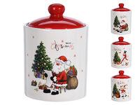 Емкость рождественская 0.6L D10cm, H14cm, керамика, 3 дизайн
