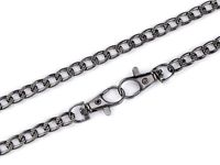 Handbag chain with lobster clasp, length 120 cm / black nickel
