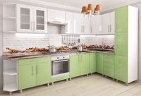 Bucătărie Bafimob Corner (High Gloss) 3.4x1.7m White/Green