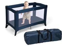 Patuc pentru copii pliabil 120X76X60cm, cu geanta, albastru/sur